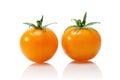 Yellow tomato isolated on white Royalty Free Stock Photo