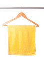Yellow towel on hanger Royalty Free Stock Images