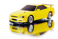Yellow toy car and its reflection Stock Photo