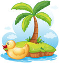 A yellow toy duck in an island illustration of on white background Royalty Free Stock Photos