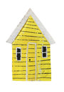 Yellow toy vintage style house model isolated on white background Royalty Free Stock Images