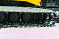 Yellow tracked vehicle on snow grooming machine Stock Photography