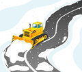 Yellow tractor cleans road from snow. Royalty Free Stock Photo