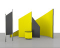Yellow trade exhibition booth or stall on white d render Royalty Free Stock Photography