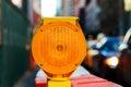 yellow traffic signal warningRoad block Royalty Free Stock Photo