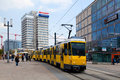 Yellow Tram in Alexanderplatz Stock Images