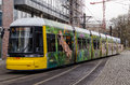 Yellow tram in berlin in motion famous the tramway network german straßenbahnnetz is the main system germany Stock Photography