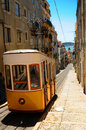Yellow tram Lisbon Royalty Free Stock Photo