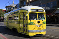 Yellow tram on the streets of san francisco Stock Image
