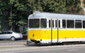Yellow tram in timisoara romania Royalty Free Stock Photos