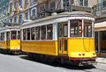 Yellow trams in Lisbon Royalty Free Stock Photo