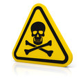 Yellow triangle warning deadly sign rounded with skull symbol isolated on white Stock Images