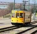 Yellow trolley in downtown memphis tennessee a colorful strolls down riverside drive famous Stock Photography