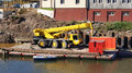Yellow truck crane Royalty Free Stock Photo