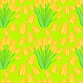 Yellow tulip seamless pattern in over green Stock Images