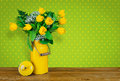 Yellow tulips in an old milk jug Royalty Free Stock Photo
