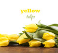 Yellow tulips on wooden boards on a white background Royalty Free Stock Image