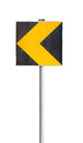 Yellow turn road sign isolated on white black and background Stock Photos