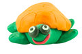 Yellow turtle in smiling action mad from plasticine concept very happy Royalty Free Stock Photo