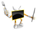 Yellow tv character chef in both hands to hold a fork and knife go on foot walking create d television robot series Stock Photography