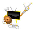 Yellow tv chef mascot the right hand guides and the left hand is holding a potato create d television robot series Royalty Free Stock Image