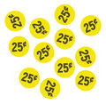 Yellow twenty five cent garage sale stickers Royalty Free Stock Photo