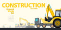 Yellow typography set of ground works machines vehicles. Excavator - construction equipment. Royalty Free Stock Photo
