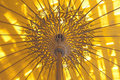 Yellow umbrella made ​​of bamboo and paper Stock Photography