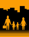 Yellow urban background with family Royalty Free Stock Photo