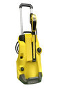 Yellow vacuum cleaner isolated on white background Royalty Free Stock Photo
