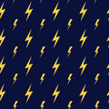 Yellow vector lightning dark blue seamless pattern