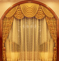 Yellow velvet theater curtains Royalty Free Stock Photo