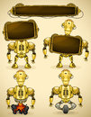 Yellow vintage robot different devices two displays to insert text Stock Image
