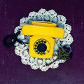 Yellow vintage telephone Royalty Free Stock Photo