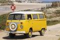 Yellow Vintage Van, Beach Scene, Summer Holidays Royalty Free Stock Photo