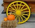 Yellow Wagon Wheel with Pumpkins