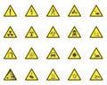 Yellow Warning Hazard Signs Set. Vector