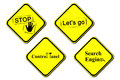 Yellow warning sign control panel search engine lets go stop illustration the Royalty Free Stock Photo