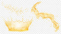 Yellow  water crown, drops and splash of water Royalty Free Stock Photo