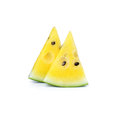Yellow watermelon and a cut slice isolation Stock Photo