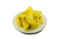 Yellow watermelon on plate white background Royalty Free Stock Photography