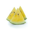 Yellow watermelon sliced on white background Royalty Free Stock Photography