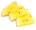 Yellow watermelon slices isolated on white background Stock Photos