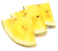 Yellow watermelon slices isolated on white background Royalty Free Stock Image