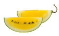 Yellow watermelon on a white background Stock Images