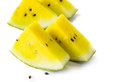 Yellow watermelon on white background Royalty Free Stock Image