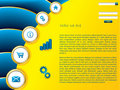 Yellow web template with blue wave effect Stock Images