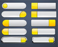 Yellow and white high-detailed modern web buttons. Stock Images