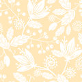 Yellow and white silhouettes flowers seamless vector elegant pattern background with hand drawn floral elements Stock Photo