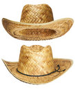 Yellow wicker straw hat Royalty Free Stock Images